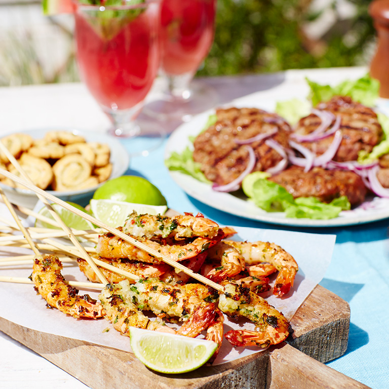 Garlic, Lime & Coriander Prawn Skewers