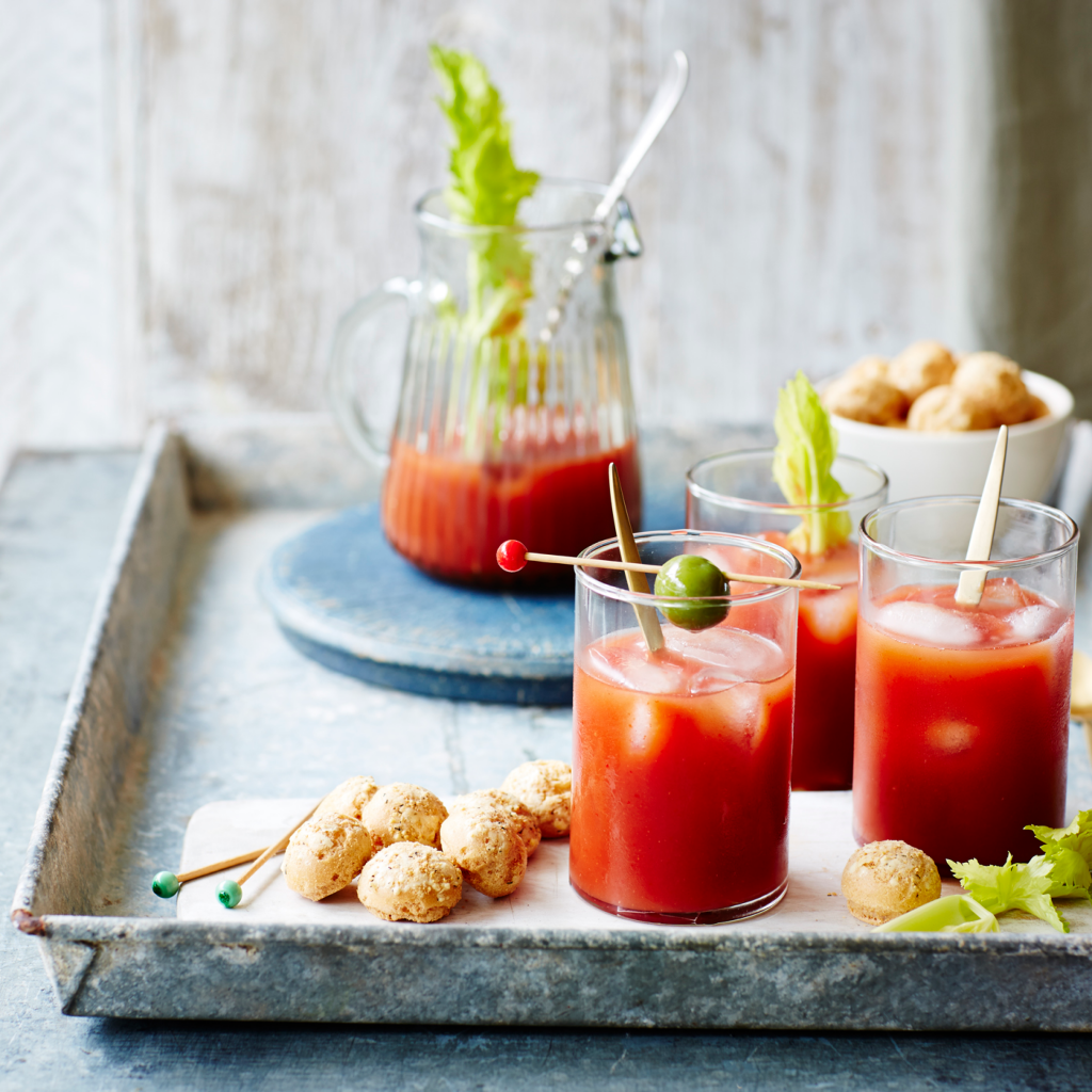 Bloody Mary with Cheese, Sour Cream & Chive Melts